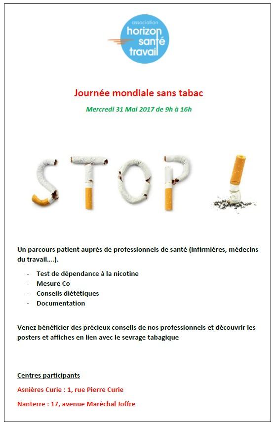 journ u00e9e mondiale sans tabac le mercredi 31 mai